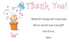 Beautiful baby shower thank you note