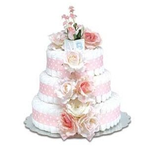 A diaper cake can make a baby shower